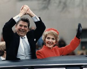 Ronald and Nancy Reagan in the 1981 inaugural parade.