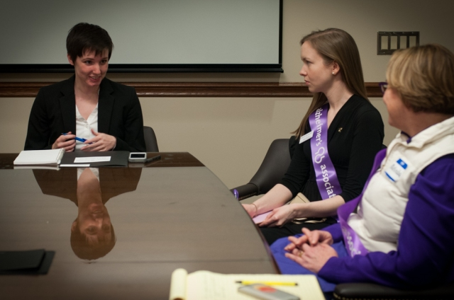 "Melinda Franklin and Sarah Michael speak to Hannah Britt, staffer for Rep. Judy Clibborn.  ""This was my first Advocacy Day,"" said Melinda.  ""I'm so glad I could make it. I'll be here next year too."""