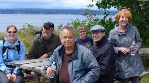 Charlie (center, front) began attending walks at Discovery Park with others diagnosed with early stage memory loss.
