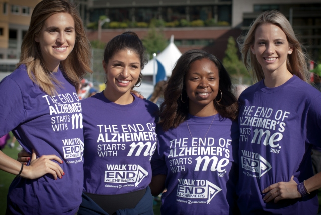 Matti Gresham, Gissell Sweezy, Jaylene Jeanpierre and Brook Bray pose at the Seattle Walk to End Alzheimer's.