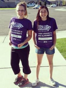 "LaRayne's granddaughters, Taylor and Tori Jackson, pose at the Tri-Cities Walk to End Alzheimer's. ""With my grandfather passing away, it was a very long goodbye,"" said Taylor. ""The walk is a way to have his memory live on for my family. I want to help other people and find a cure for the disease."""