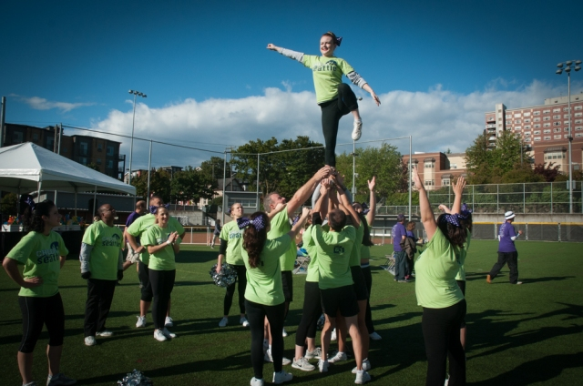 Cheer Seattle, a non-profit cheer leading squad kept the spirit up at the Seattle Walk to End Alzheimer's.
